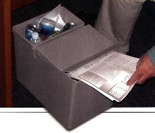 Recycling Separator has footprint equal to wastebasket.