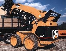 Skid-Steer Loader loads bulk or palletized materials.