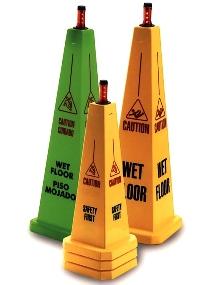 Floor Warning Signs alert pedestrians to danger.