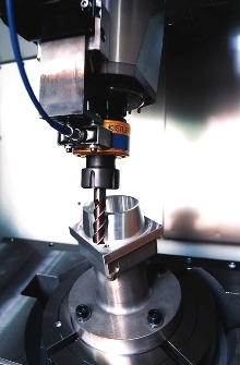 Dynamometer measures cutting forces during high-speed milling.