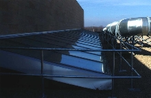 Skylight Railing System does not penetrate roof membrane.