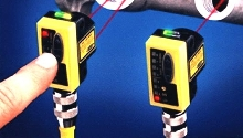 Push Button Laser Sensor offers feature and event detection.