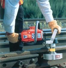 Rail Grinder prepares rail for welding.