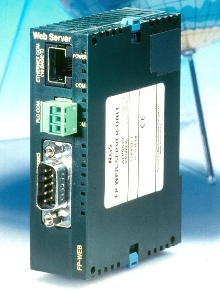 Web Server connects PLCs to Ethernet network.
