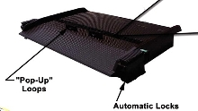 Dockboard features open grating for tire traction.