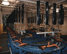 Chain Conveyors provide stable handling of multi-part racks.