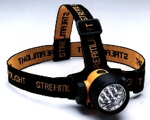 Headlamp provides variable distance lighting.