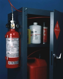 Fire Suppression System protects flammable liquid storage cabinets.