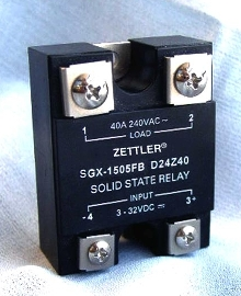 Solid State Relays switch 10 through 40 A at up to 380 Vrms.
