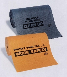 Absorbent Mat provides safety or clean messages.