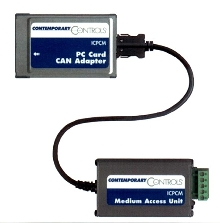 PC Card Adapter connects CAN networks to notebook computers.
