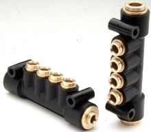 Manifolds come in brass and engineered polymer.