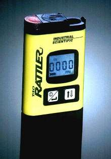 Gas Monitor attaches to clothes or hard hat.