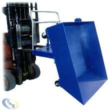 Parts Hopper can be dumped using fork truck.