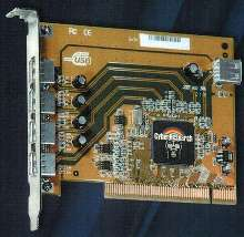 PCI card provides five USB ports.