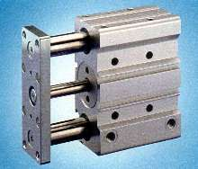 Pneumatic Cylinder features two rigid guide rods.
