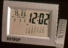 Hygrometer includes clock and calendar functions.