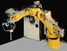 Robot is equipped for water jet cutting applications.