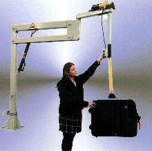 Manipulator lifts and handles large suitcases and boxes.