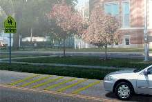 Rumble Strips alert drivers with color.
