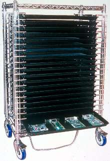 Tray Cart System accommodates PC boards and assemblies.