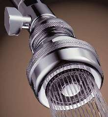 Showerhead conserves water through design.