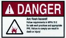 Labels warn of arc-flash hazard.