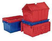 Distribution Container includes attached lid.