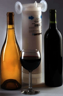 Filter provides prefiltration or final filtration of wine.
