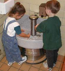 Washfountains feature new 54 in. ADA-compliant height.