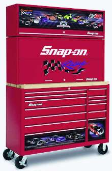 Tool Storage Units have custom paint and racing graphics.