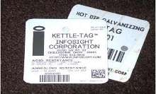 ID Tag survives hot dip galvanizing.