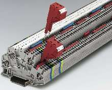 Double Level Terminal Block has angled wire entrance.