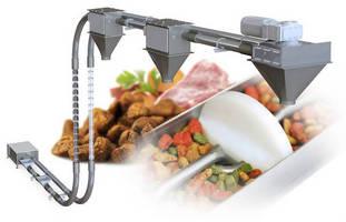 Tubular Drag Conveyor gently transports pet food.