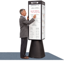 Rotating Display Kiosk increases information dissemination.