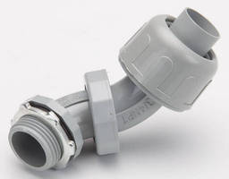 Liquid-Tight, 0°-90° Connectors have non-metalic design.