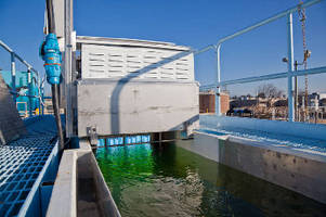 UV Disinfection System kills bacteria in municipal wastewater.