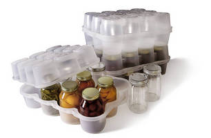 Plastic Container fosters safe storage/transport of glass jars.