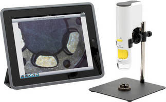 Portable Microscope shares wirelessly with tablets and phones.