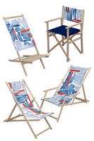 Wooden Chairs serve as advertising displays.