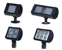 Weatherproof LED Flood Lights feature interchangeable optics.