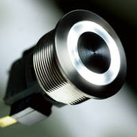 Metal Pushbutton Switch offers white ring and point illumination.