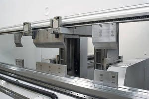 Automated Tool Changing Press Brake has 220 ton capacity.