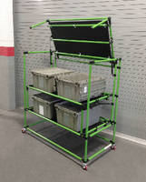 Drawbridge Shelf Cart uses gas struts.