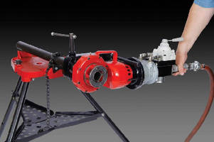 Pneumatic Power Drive provides power for threading pipe.