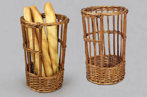 Wicker Merchandiser attractively displays baguettes.