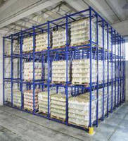 Pallet Storage System combines push-back, flow styles.