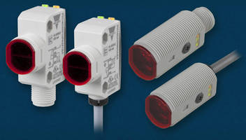 Compact Photoelectric Sensors integrate background suppression.