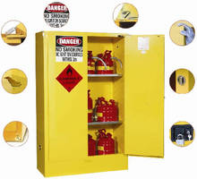 Storage Cabinet holds flammable and corrosive goods.