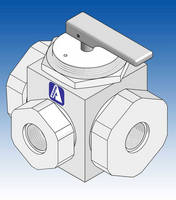 Manually Operated 3-Way Ball Valve features PTFE, PP construction.
